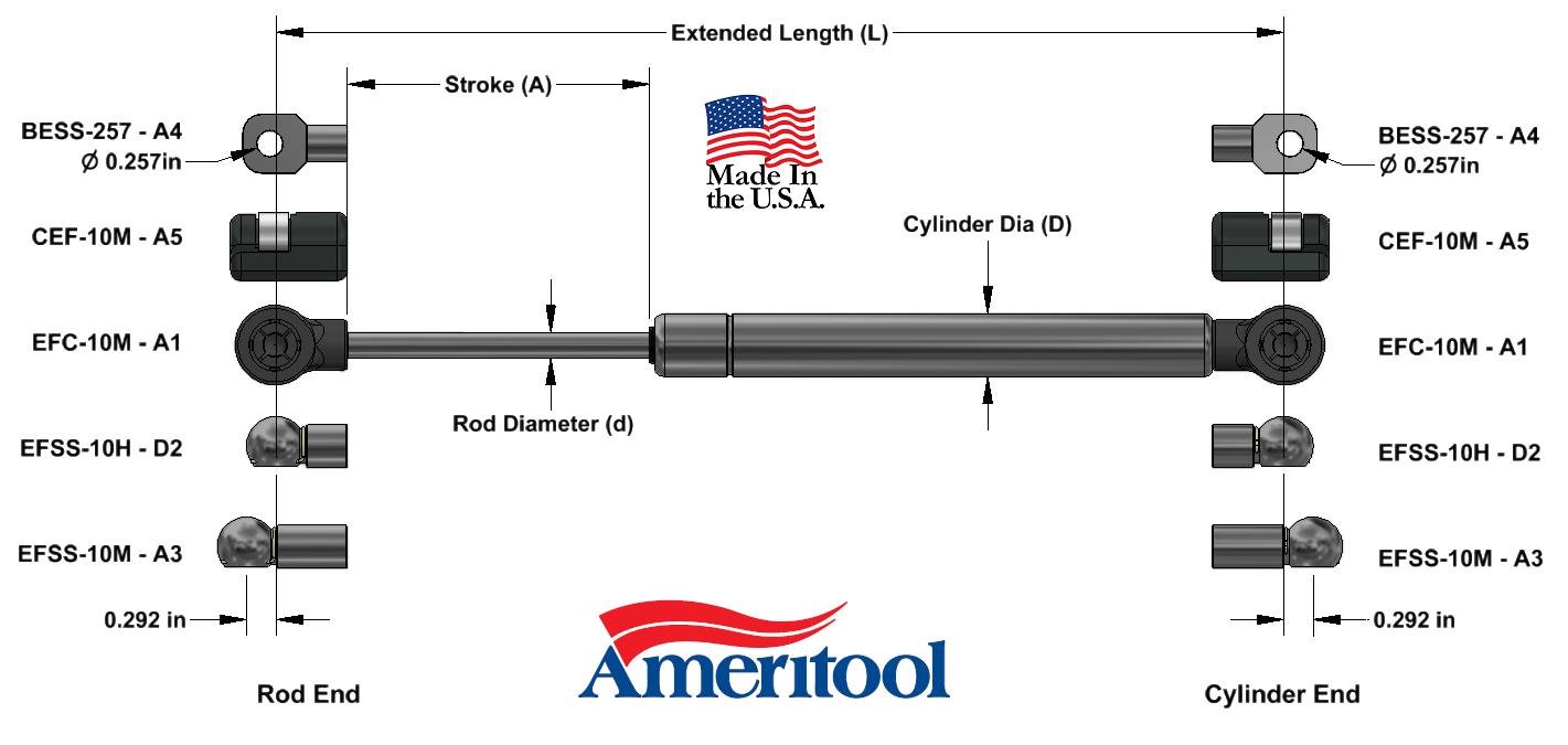 Ameritool  6-8-20-CB1-CB1-50 Fixed Force Gas Spring 7mm Dia Rod